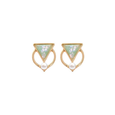 Colleen Resin Triangle and Pearl Hoop Earring