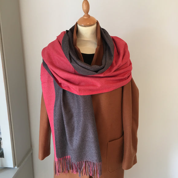 Coral Reversible Light Cashmere Feel Scarf