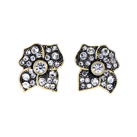 Antique Gold Crystal Flower Earring