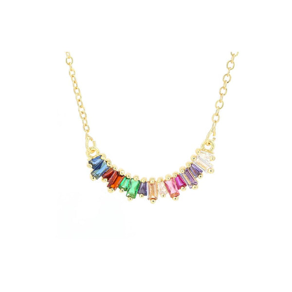 Holly Multi Colour Cubic Zirconia Crystal Arc Necklace
