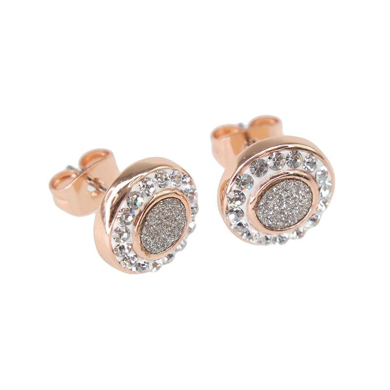 Milana Crystal Circle Earring Rose Gold