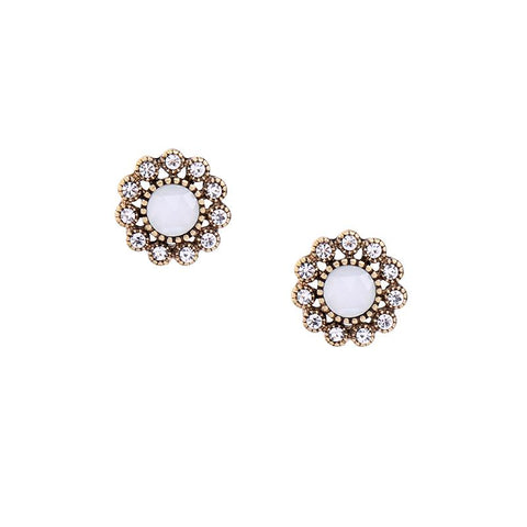 Sasha White Crystal Flower Earring