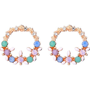 Jenny Pastel Gem Flower Circle Earring