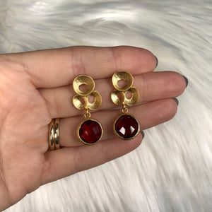 Deanna Gold and Red Drop Earring
