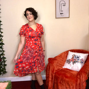 Debra Red Print Tea Dress