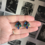 Blue and Green Diamond Cluster Gem Earring