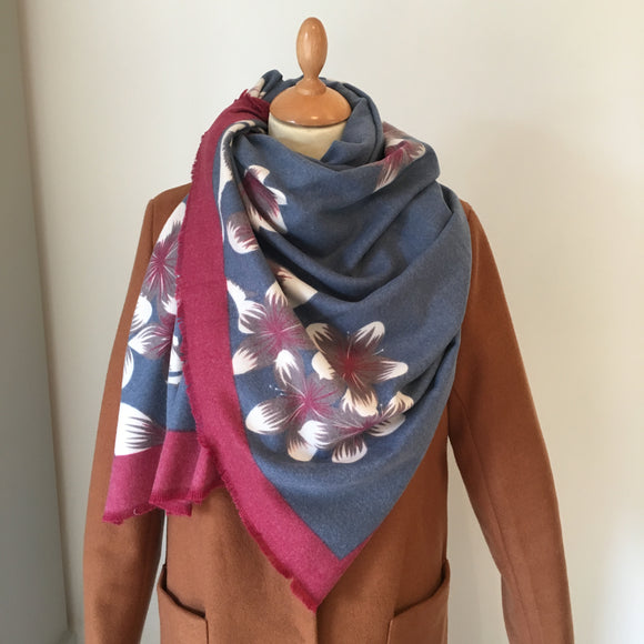 Dusky Blue Floral Light Cashmere Feel Scarf