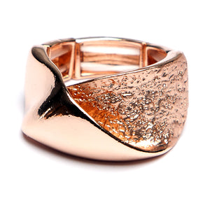 Split Textured Front Ring Rose Gold