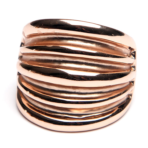 Ridged Front Ring Rose Gold