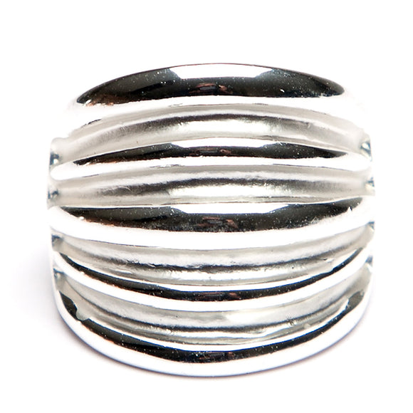 Ridged Front Ring Silver