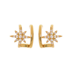 Eabha Twin Hoop Gold Earring with Cubic Zirconia Star