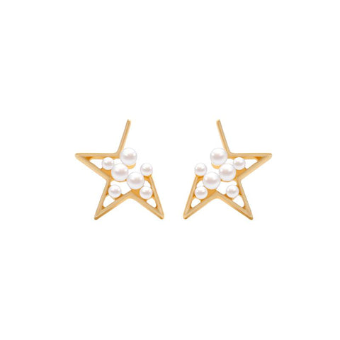 Eilis Open Star Earring with Inner Pearls