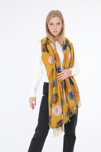 Eithne Large Dot Scarf Mustard
