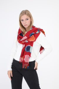 Eithne Large Dot Scarf Red