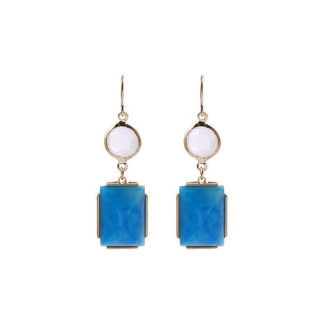 Ellie Drop Resin Opal and Turquoise Gem Earring