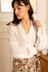 Eloise White Broderie Anglaise Blouse