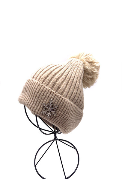 Elyna Beige Pom Hat with Brooch