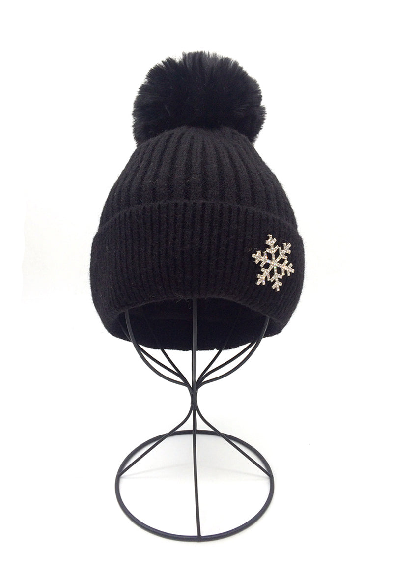 Elyna Black Pom Hat with Brooch