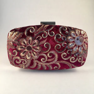 Embroidered Velvet Burgundy Clutch Bag