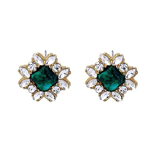 Clara Emerald Square Gem Earring