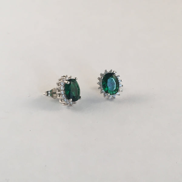 Emerald Diamante Stud Earring