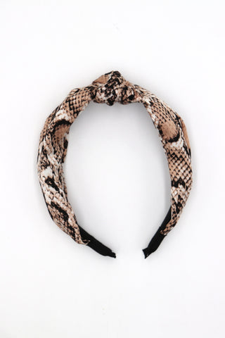 Emy Beige Snakeskin Head Band