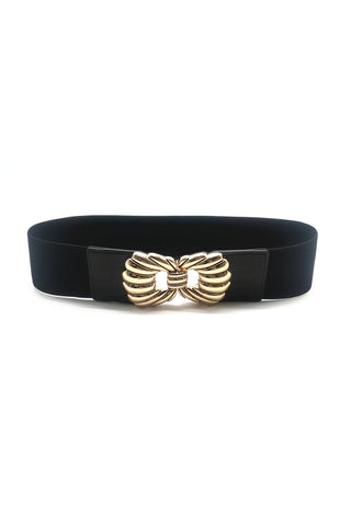 Enya Gold Bow Stretch Belt Black