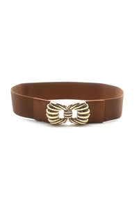 Enya Gold Bow Stretch Belt Tan