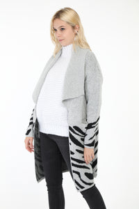 Evonne Long Animal Print Cardigan Light Grey