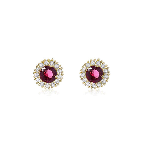 Eileen CZ Cluster Round Red Stud Earring