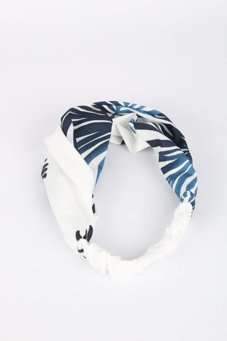 Ellen Fabric Headband White Palm Print