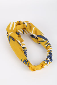 Ellen Fabric Headband Yellow Palm Print
