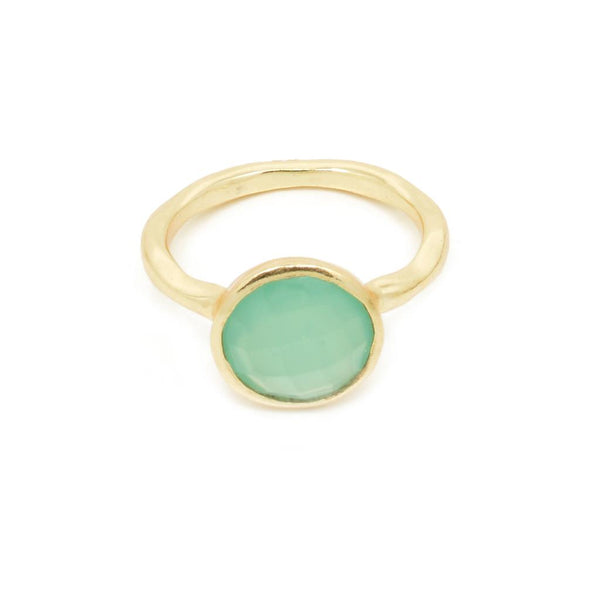Nicola Faceted Aqua Chalcedony Twisted Gold Ring