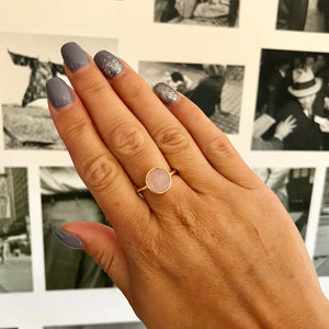 Nicola Faceted Rosequartz Twisted Gold Ring