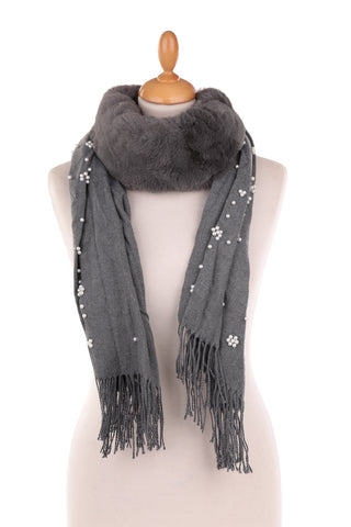 Grey Pearl Embellished Scarf with Faux Fur Collar