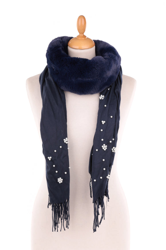Navy Pearl Embellished Scarf with Faux Fur Collar