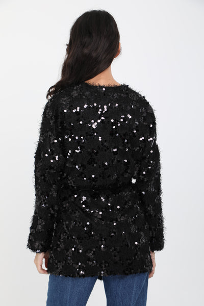 Florence Sequin Black Cardigan
