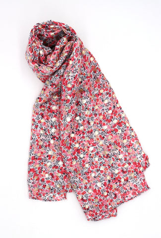 Frankie Pink Floral Print Scarf with Gold Detail
