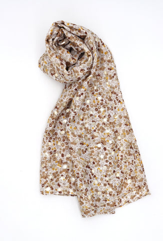 Frankie Taupe Floral Print Scarf with Gold Detail