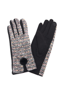Rose Mini Pom Glove Black