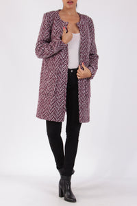 Grace Soft Tweed Collarless Coat Burgundy