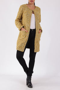 Grace Soft Tweed Collarless Coat Mustard