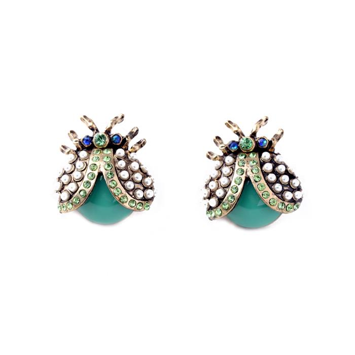 Green Pearl and Crystal Ladybird Earring