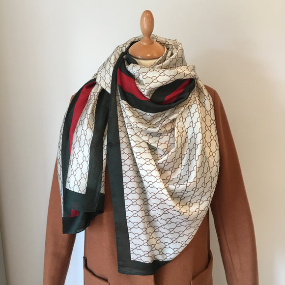 Red and Green Stripe Silk Feel Scarf
