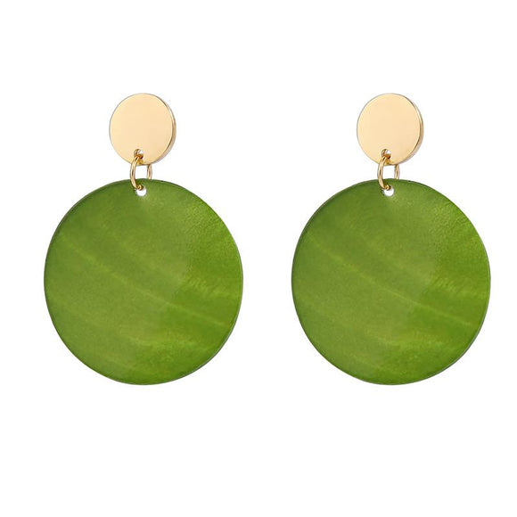 Mia Green Shell Disc Earrings