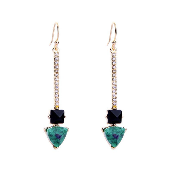 Gold Crystal Bar Drop Earring Green Stone
