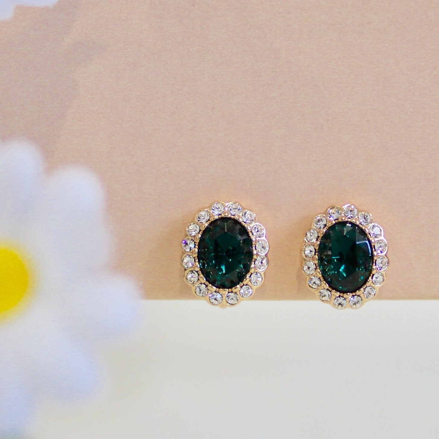 Green Clip-On Earrings