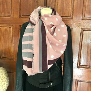 Dots & Stripes Cashmere Feel Scarf in Grey & Pink
