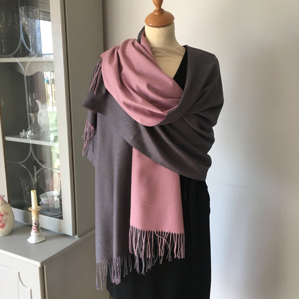 Grey and Pink Reversible Scarf