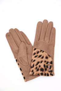 Hailee Animal Print Gloves Beige